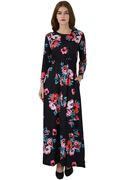 83af049dc45e OMZIN Women s Spring Flower 3 4 Sleeve Casual Floor Length Maxi Dress Black  S
