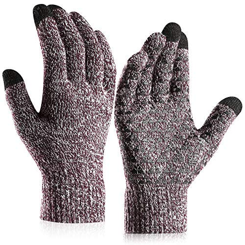 CHICVIE Knit Gloves-New Designed Touchscreen Gloves Sensitive and Fashionable,Knit Lined Texting Unisex for Women & Men(Coffee, L)