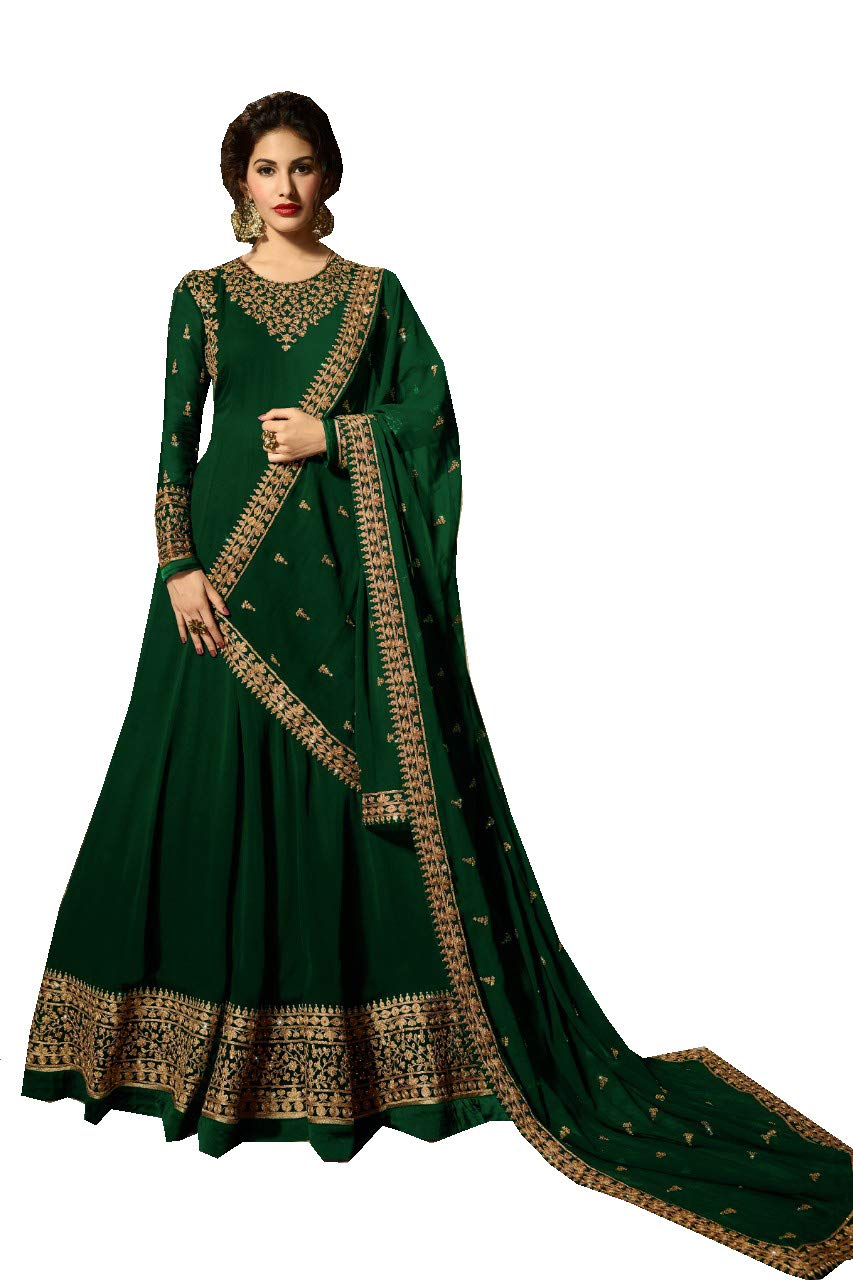 Delisa Indian/Pakistani Bollywood Party Wear Long Anarkali Gown for Womens NG (Green-2, SMALL-38)