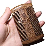 Sandalwood Beard Hair Comb with Fine vs Coarse Teeth Dual-sided Pocket Moustache Anti-static HairBrush Pettine Beard Conditioners Ebony Gloden Black CA