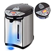 Secura LCD Electric Water Boiler and Warmer 4-Quart Electric Hot Pot Kettle w/ Night light, 18/10 Stainless Steel Interior S3U-40LCD