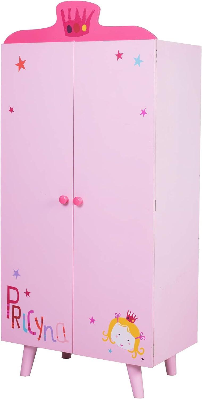 Beautiful Valley Wood Wardrobe Closet, Pink Wardrobe Closet with 5 Separated Shelves, Big Enough for Girl! Easy to Assemble Wood Wardrobe, Baby Wardrobe Girl