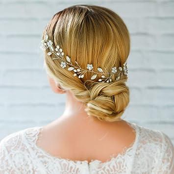 Amazon.com   Yean Wedding Headband Hair Vine Opal Rhinestones Flower Hair  Accessories for Bride and Bridesmaid   Beauty 5fdecb0bd4e