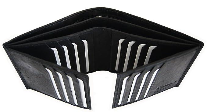 e49cbb129be5 AG Wallets Men's Leather European Bifold Multi Card Hipster 2 ID Windows  (Black)
