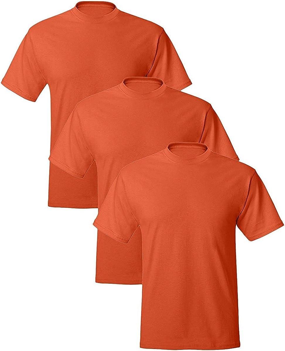 Hanes Adult ComfortBlend EcoSmart T-Shirt, Orange, X-Large, (Pack of 3)