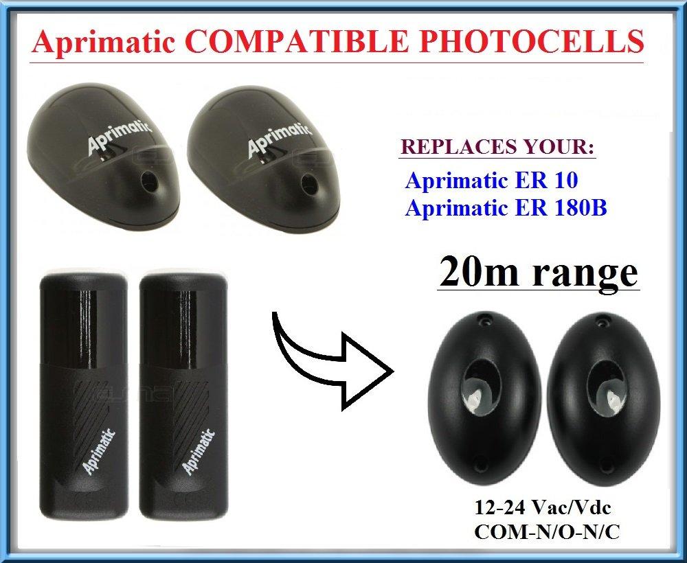 Aprimatic ER 10 / Aprimatic ER 180B fotocé lulas de infrarrojos compatible. Par de universal fotocé lulas infrarrojas Sensores de seguridad! Haz de seguridad 12V-24V AC/DC, N.O-COM-N.C , Alcance: hasta 20m!!! Fotocélulas infrarrojas universal