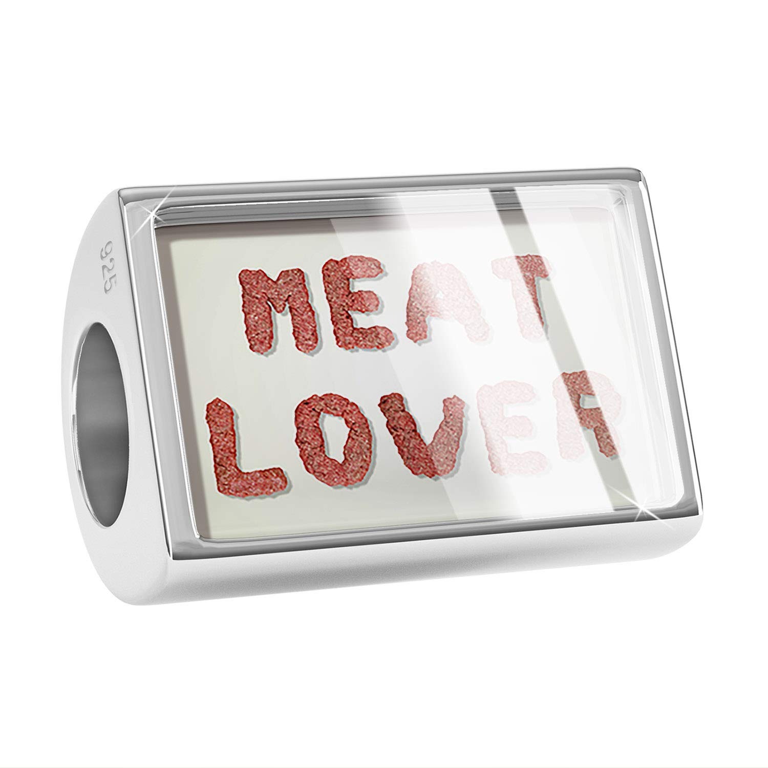 NEONBLOND Custom Charm Meat Lover Meat Ground Beef Hamburger 925 Sterling Silver Bead