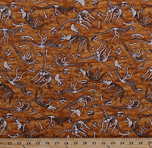 (Cotton Dinosaurs Bones Dino Skeletons Buried Fossils Raptors T-Rex Paleontologists Archaeologists Reptiles Animals Jurassic Jungle Brown Cotton Fabric Print by The Yard (1649-24329-T))