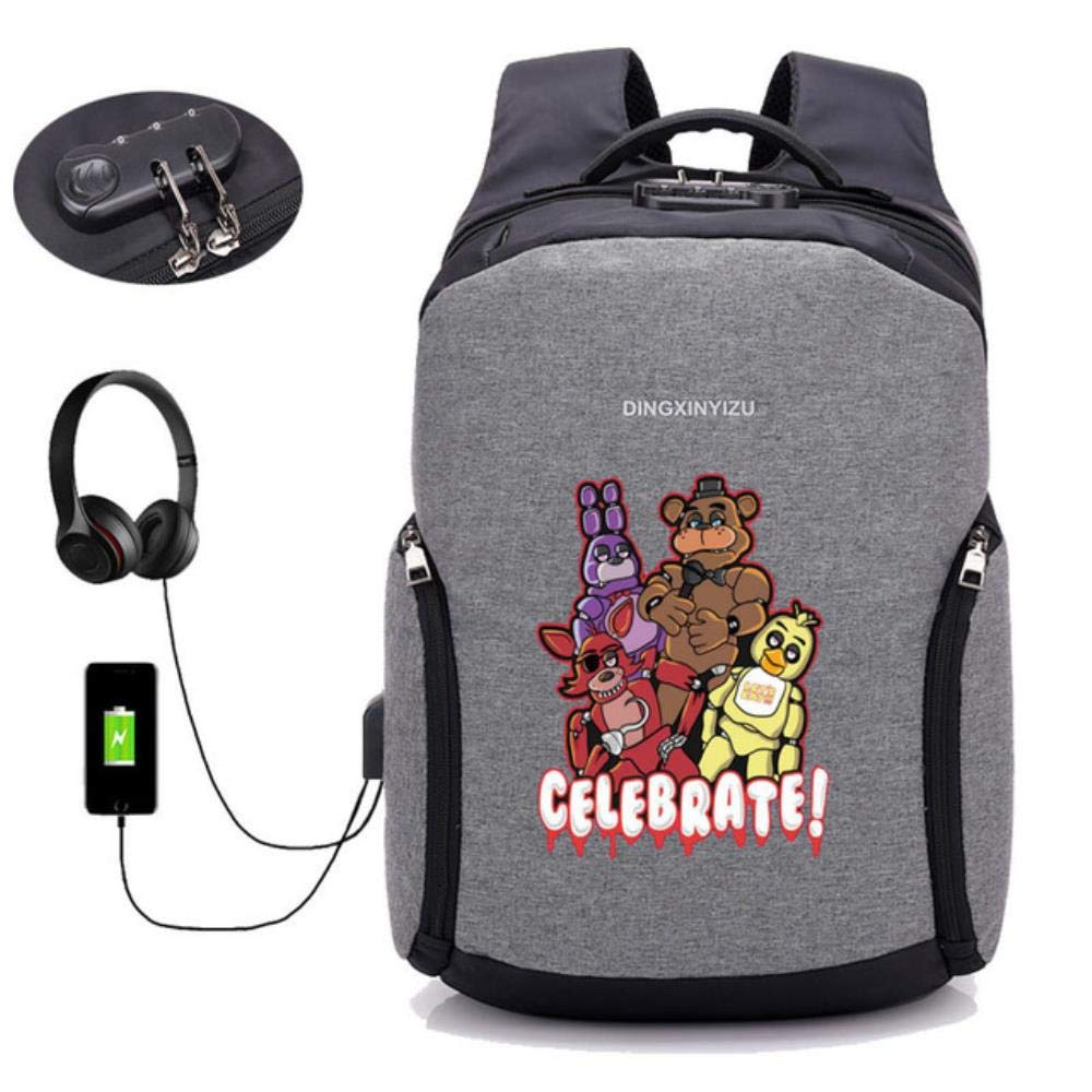 A03 GuiSoHn AntiTheft USB Charging Backpack Anime Five Nights at Freddy's Daypack Student School Bag Teenagers Laptop Travel Rucksack