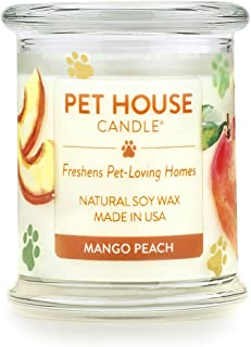 product image for One Fur All - 100% Natural Soy Wax Candle, 20 Fragrances - Pet Odor Eliminator, Up to 60 Hours Burn Time, Non-Toxic, Eco-Friendly Reusable Glass Jar Scented Candles – Pet House Candle, Mango Peach