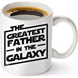 Muggies Greatest Father In The Galaxy 11oz. Coffee Tea Mug. Unique Funny Christmas, Xmas, Birthday, Fathers Day Gifts For Him - Super Star Men, Dad, Husband