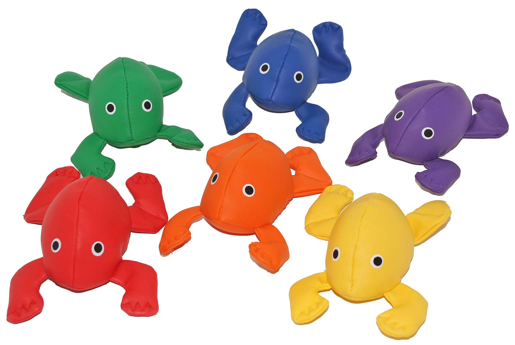 Great Lakes Sports Set of 6 Soft Vinyl Bean Bag Frogs with Painted Eyes for Added Safety