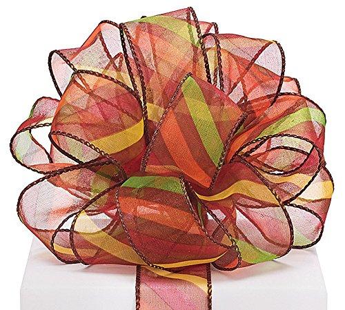 Brown Sheer Ribbon With Diagonal Stripes - 1.5