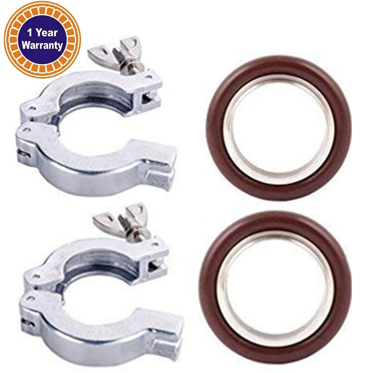 Quick Clamp Vacuum Adapter - 2 Sets KF-25, Flage Size NW-25 Flange Clamp With Wing Nut Closure + Centering Ring With FKM O-ring, Stainless Steel (304) All by FACTRYOLET