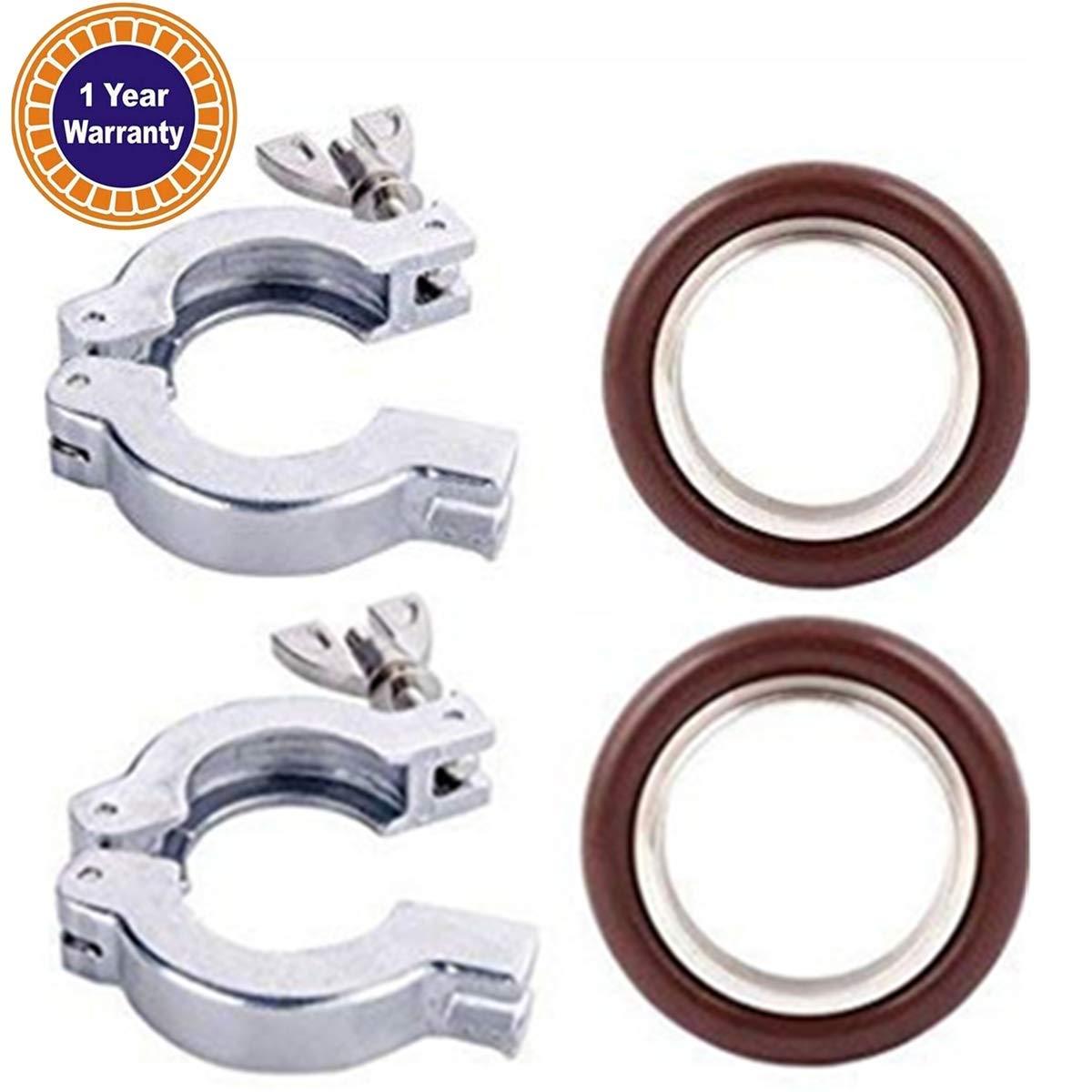 2 Sets KF-16 Aluminium Clamp Ring + KF16 Stainless Steel/Buna 304 Centering Ring FKM