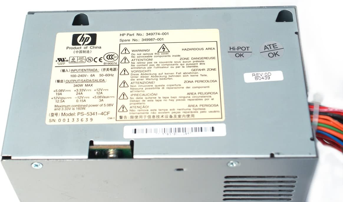 Business DX6100 Microtower Compatible Part Numbers: 349774-001 Business DX6120 Microtower 349987-001 Model Numbers: PS-5341-4CF Genuine HP//Compaq 340W 349774-001 Power Supply PSU For HP Business DC7100 Convertible Minitower
