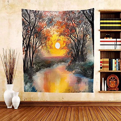 Gzhihine Custom tapestry Oil Painting on Canvas - Tree near the Lake at Sunset Wallpaper Decoration - Fabric Tapestry Home Decor - Outlet Chicago Near Stores