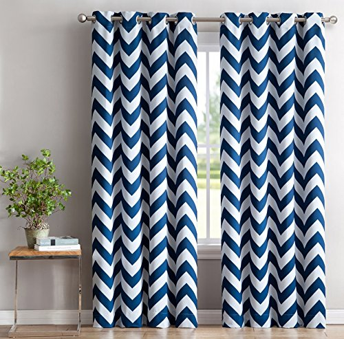 HLC.ME Chevron Print Thermal Insulated Room Darkening Blackout Curtains for Bedroom - Navy Blue - 52