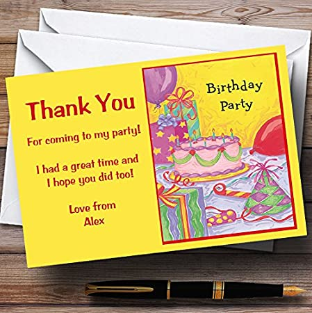 Yellow Cake Balloons Personalized Party Thank You Cards
