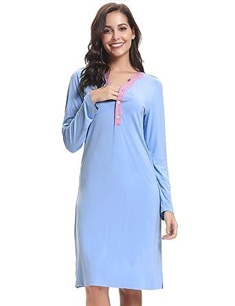 Hawiton Ropa Premamá de Lactancia Camisón Mujer Algodón Pijama Mujer Invierno Manga Larga, Sencillo y Cómodo: Amazon.es: Ropa y accesorios