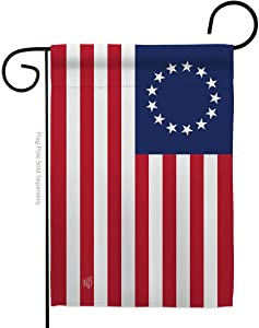 Ornament Collection Historic Betsy Ross Garden Flag Patriotic July Memorial Veteran Independence United State American Small Decorative Gift Yard House Banner Made in USA 13 X 18.5