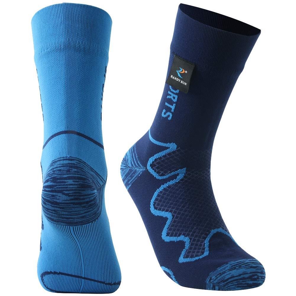 RANDY SUN Workout & Training Socks, Unisex Sport Socks & Breathable Hiking/Trekking/Skiing Waterproof Socks, 1 Pair in Two Fashion Socks-Mid Calf Socks,Large by RANDY SUN