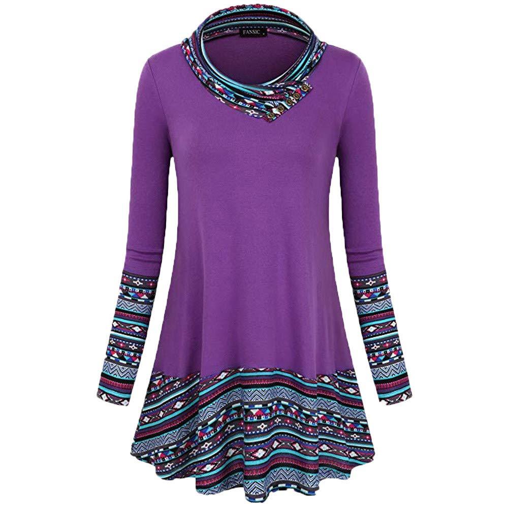 Long Sleeve Sweatshirt Women, Bovake Ladies Fashion Cowl Neck Button Tunic Top Blouse Plus Size