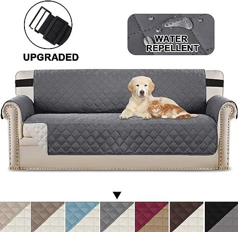 Image ofBellaHills Fundas de sofá Impermeables Fundas de sofá de 3/4 plazas Protectores de sofá para Perros/Mascotas/niños Fundas de Muebles Impermeables (4 plazas, Gris/Beige)