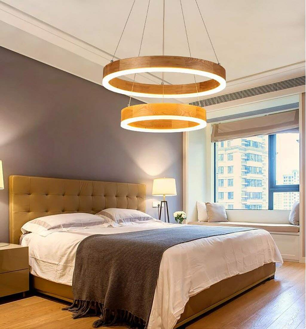 FDKS Moderne Kronleuchter Einfache Kreative Persönlichkeit LED Art Restaurant Bar Großes Wohnzimmer Schlafzimmer Holz Glas Kronleuchter Deckenleuchte Anhänger Hängende Lampe mit Heimgebrauch