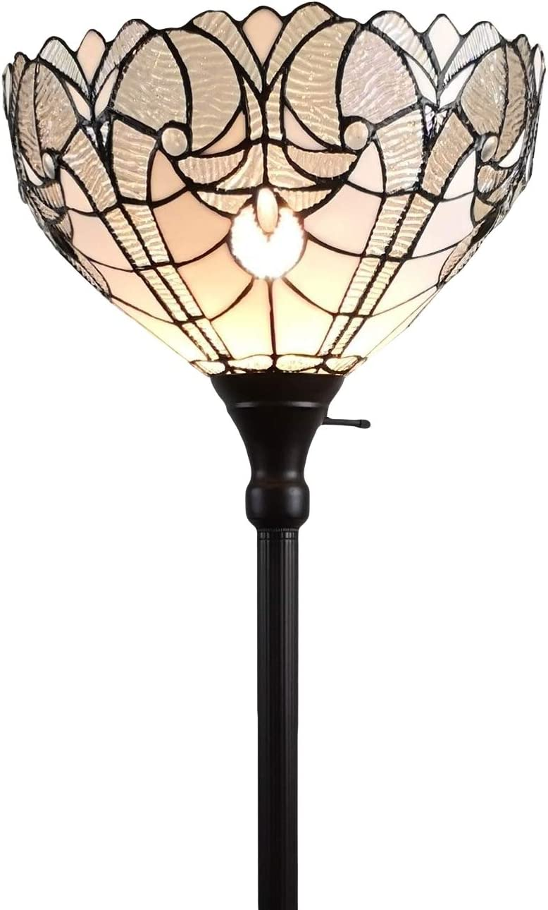 Amora Lighting Tiffany Style Floor Lamp Torchiere 72 Tall Stained Glass White Mahogany Antique Vintage Light Decor Bedroom Living Room Reading Gift AM266FL14B