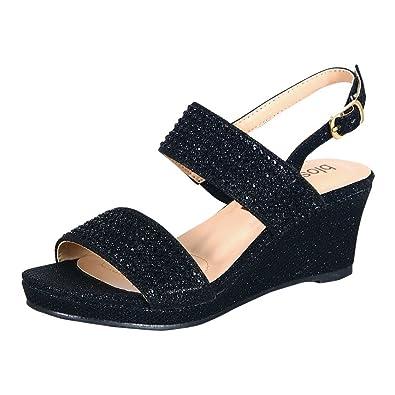 45a0d97c95f Girls Black Glitter Pearl Accents Open Toe Wedge Sandals 12 Kids ...