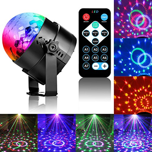 Disco Ball LED Party Dj Lights with Remote Control RBG Strobe Led Lamp 7 Modes Stage Party Strobe Light for Christmas Parties Wedding Outdoor Decorations