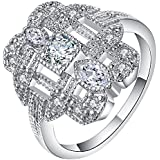 Sumanee 18K White Gold Filled Sapphire Band Ring Wedding Engagement Jewelry Size 7-9 (10)