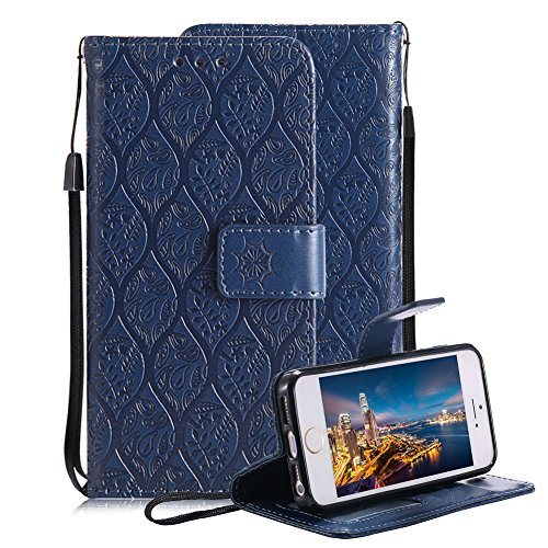 Price comparison product image For iPhone 5 5S SE Wallet Case, Aearl Premium PU Leather 3D Totem Rattan Flower Design Case with Stand Function ID Slot Card Holder Wrist Strap Slim Flip Protective Cover for iPhone 5S 5 - Dark Blue