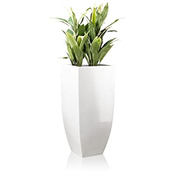 Pflanzkübel Blumenkübel TARRO ALTO Fiberglas, weiß hochglanz ...