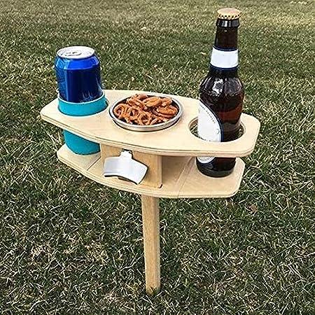 Ablerfly Cerveza Portátil Plegable De Madera Y Mesa De Vino, Soporte De Copa De Vino Y Soporte De Bebidas, Adecuado para Camping Party Garden Beach (con Soporte De Refrigerio, Sacacorchos)