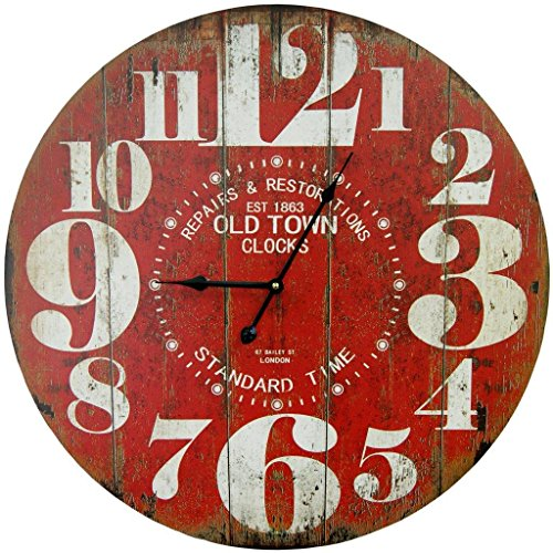 Round Red Decorative Wall Clock With Big Numbers And Distressed Old Town face 23 x 23 inches Quartz movement (Kitchen Clocks Wall Red)