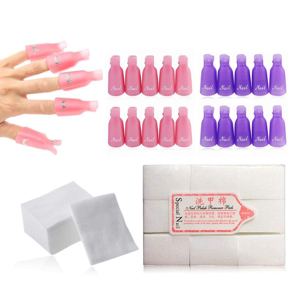KOBWA Nail Art Remover Clips Set, Reusable Toe Nail and Finger Nail Art Soak Off Cap Clip UV Gel Nail Acrylic Polish Remover Wrap Nail Tool with 500pcs Lint Free Nail Wipes Cotton Pads Wraps