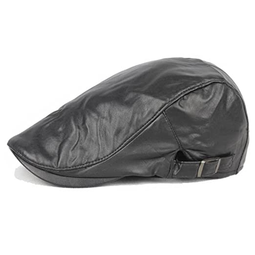 8040ecfdfef ZLSLZ Mens PU Leather Warm Ivy Newsboy Cabbie Gatsby Dad Golf Driving Hat  Cap Black