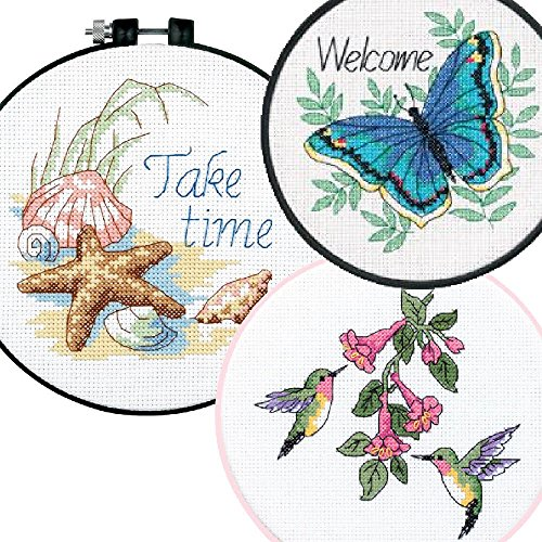 3 Item Learn-A-Craft Bundle: Take Time, Butterfly and Hummingbird Cross Stitch Kits Bundle