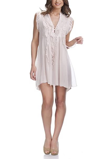 Laura Moretti - Vestido Corto de Verano asimétrico sin Mangas y con Volantes: Amazon.es: Ropa y accesorios