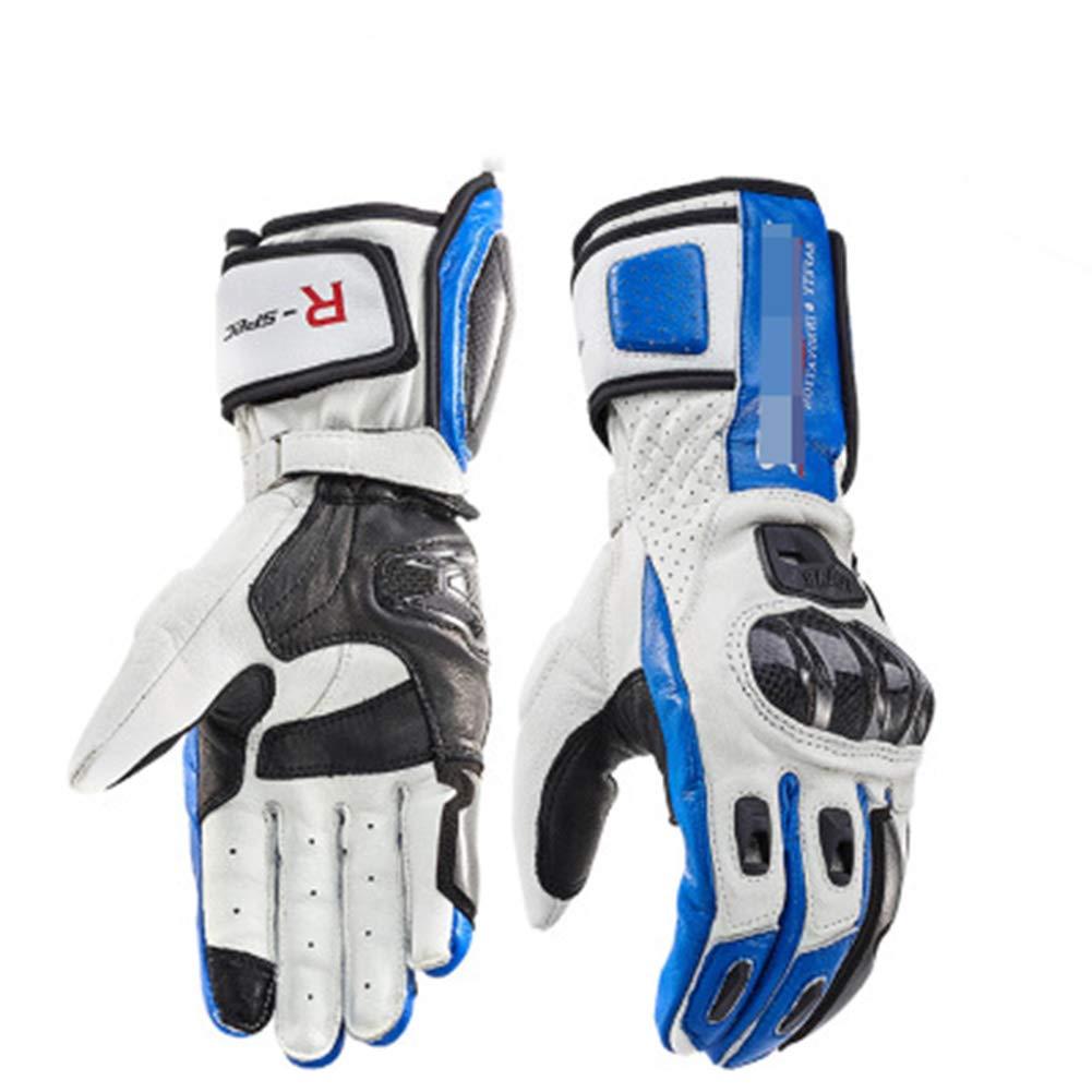 HuanXin-VE180 Motorrad-Lederhandschuhe Reiten Lokomotive Kohlefaser-Handschuhe für Herren Winterbruchsicherer Touchscreen-Handschuhe Blau