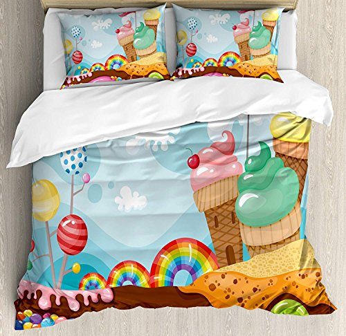 CHASOEA Family Comfort Bed Sheet Ice Cream Decor Dessert Land with Rainbow Candies Lollipop Trees Cupcake Mountains Cartoon, 4 Piece Bedding Sets Duvet Cover Oversized Bedspread, Full Size ()