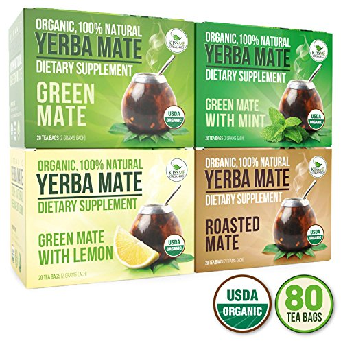 Organic Yerba Mate Tea Bags - Variety Pack - Mate Cocido - Natural Detoxifier and Fat Burner - 80 Tea Bags - 20 of Each Flavor (2 grams each) Kiss Me Organics