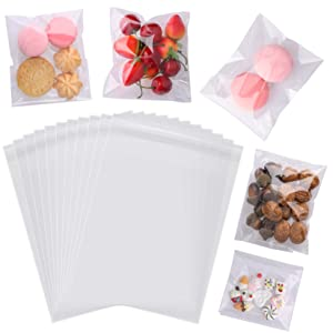 200pcs 4x6 inch Clear Cellophane Bags Self Adhesive Treat Bags Plastic OPP Resealable Food Packaging Bags for Bakery, Candy, Soap, Candle, Chocolates, Cookie Poly Bags