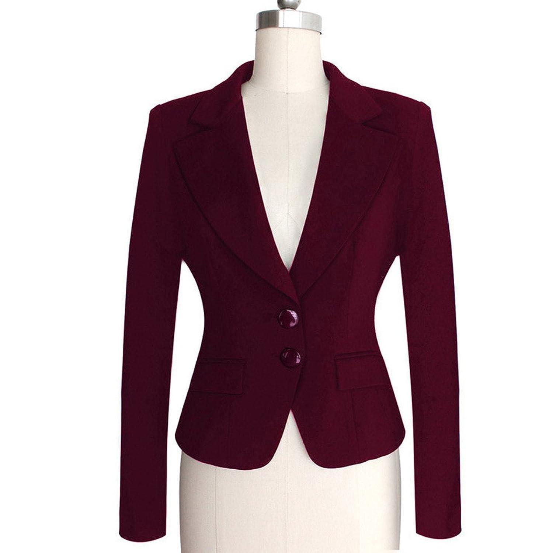 Dantiya Women's Two-Button Blazer Work Office Suit Jacket S-XXXXL