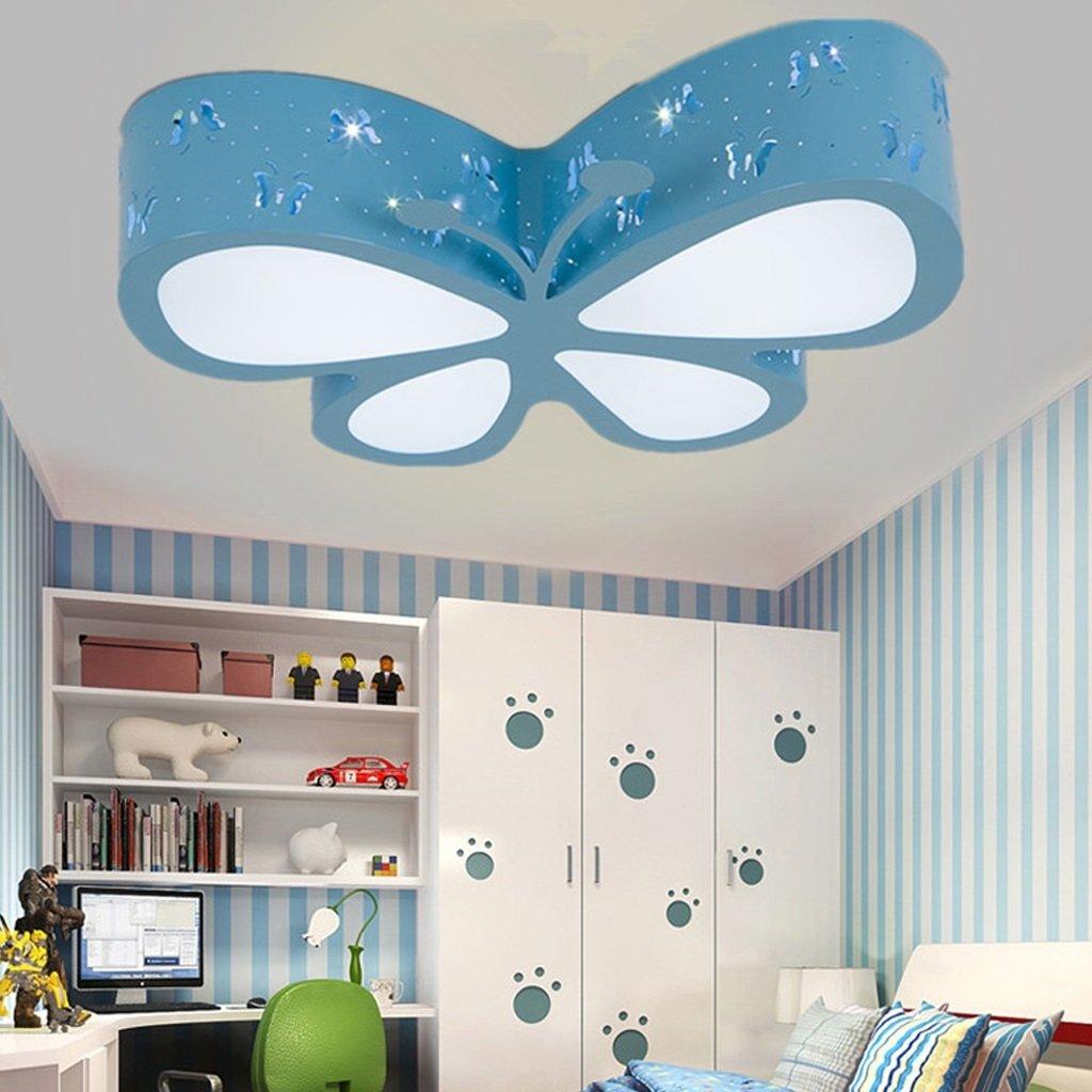 Europä ische Eisen Schmetterling Deckenleuchte, moderne einfache LED energiesparende Deckenleuchte, Kinder Schlafzimmer Schlafzimmer Korridor dekorative hä ngende Lichter ( Color : Pink ) xinyuan