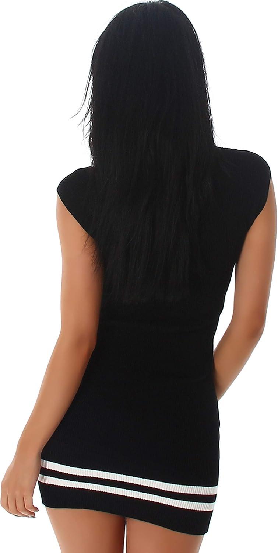 36 38 Jela London Damen Feinstrick Strickkleid Stretch Longpulli Pullikleid Feinripp-Optik Streifen-Muster