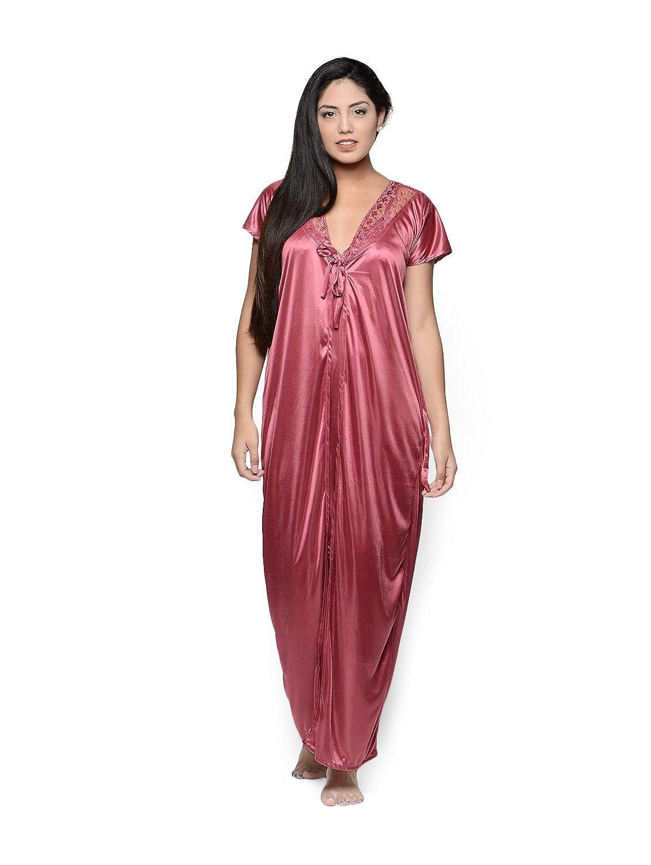 1f86448eb903 Klamotten Women s Satin Two Piece Nighty (Pink Free Size)  Amazon.in   Clothing   Accessories