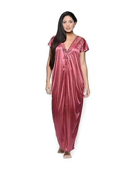 f6c2da29b2d0 Klamotten Women s Satin Two Piece Nighty (Pink Free Size)  Amazon.in ...